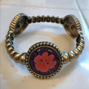 Clemson Tigers Bracelet~Brushed Yellow Gold~Size 8